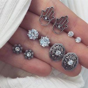 NEW 5 Pair Crystal Silver Studs Set Boho Earrings